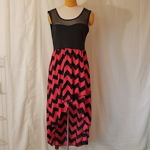 Vibe Black & Coral Chevron Print High Low Dress XL